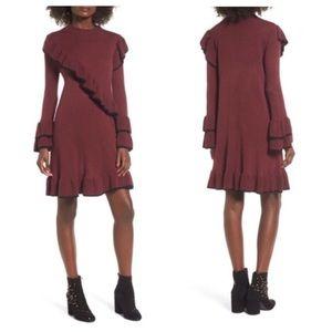 BP Ruffle Sweater Dress Maroon Black Size Medium